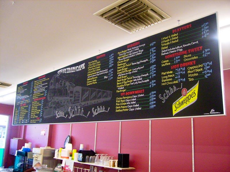 Steam Train Cafe Chalk Board Menu Board-2 :: Chalkboards